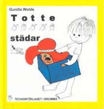 Omslagsbild för Totte städar - Barnbok med tecken för hörande barn