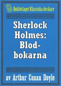 Omslagsbild för Sherlock Holmes: Äventyret med blodbokarna – Återutgivning av text från 1947